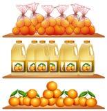 Świeże pomarańcze i sok na półkach ilustracja wektor