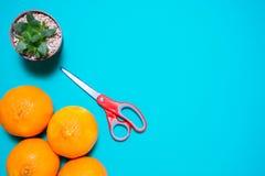 Świeże pomarańczowe owoc i sok na błękitnym tło stole obrazy stock
