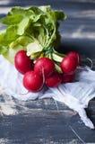 Świeże rzodkwie na czarnym drewnianym stole Zdjęcie Royalty Free