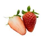 Świeże truskawki cutted odizolowywać na białym tle Zdjęcie Royalty Free