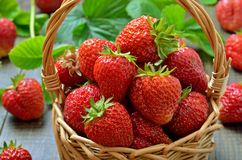 Świeże truskawki w łozinowym koszu Zdjęcie Stock