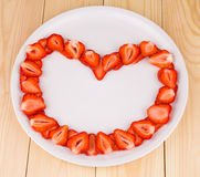 Świeże truskawki w formie serce Obraz Royalty Free