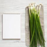 Świeże zielone cebule na białym drewnianym tle, pusty notatnik, zasięrzutny widok Od above, odg?rny widok, mieszkanie nieatutowy  zdjęcie stock
