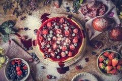 Świeżego jagodowego cheesecake fotografii przepisu karmowy pomysł obraz royalty free