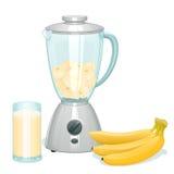Świeżego koloru żółtego rżnięci banany w szklanym pucharze blender ilustracji