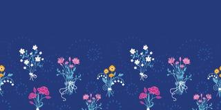 Świeżego kwiatu bukietów horyzontalny bezszwowy deseniowy tło ilustracja wektor