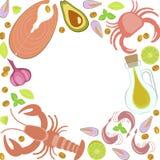 Świeżego owoce morza płaski projekt Obrazy Royalty Free