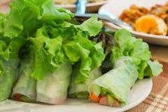 Świeżego warzywa kluski wiosny rolka Fotografia Stock