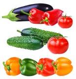 Świeżego warzywa ogórek, oberżyny, pomidory i czerwonego pieprzu iso, Fotografia Stock