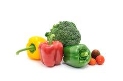 Świeżego warzywa pomidor, brokuły, dzwonkowy pieprz odizolowywa na białym tle Obraz Stock