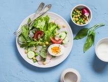 Świeżego warzywa sałatka z pomidorami, rzodkwią, zielonymi ziele i gotowanym jajkiem na bławym kamiennym tle, Obraz Royalty Free