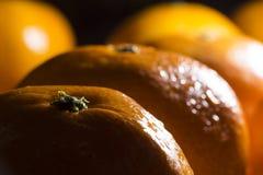 Świeżej i mokrej łupy pomarańczowe owoc zamknięte w górę strzału w ciemnym pokoju z światłami przychodzi od strony fotografia royalty free