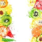 Świeżej owoc akwareli sztandar Watercolored jabłko, cytrusy, avocado i qiwi w jeden sztandarze z pluśnięciami, Zdrowy royalty ilustracja
