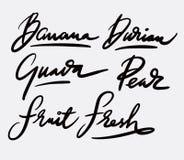 Świeżej owoc handwriting kaligrafia zdjęcia royalty free