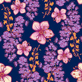 Świeżej wiosny kwiecisty bezszwowy wzór na zmroku - błękitny tło Fotografia Royalty Free