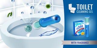 Świeżej woni cleaner gel dyska toaletowe reklamy Wektorowa realistyczna ilustracja z toaletowego pucharu gel aptekarką i gel dysk ilustracja wektor