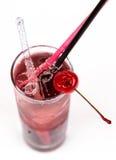Świeżość koktajl z lodem w szkle z pić słomę fotografia royalty free