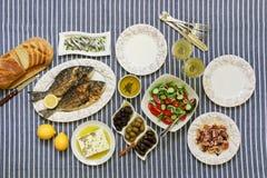 Świeżo gotować owoce morza piec na grillu dennego leszcza ryba, ośmiornica w octu kumberlandzie, sardynki w oliwa z oliwek i warz Zdjęcie Stock