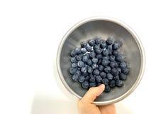 Świeżo myjąca czarnej jagody owoc z kroplą wodny i czysty obraz stock