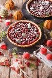Świeżo piec Bożenarodzeniowy cranberry tarta z lodowacenie cukierem i fest obrazy royalty free