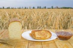 Świeżo piec outdoors chleb na drewnianym stole Obraz Stock