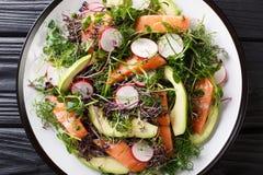 ?wie?o przygotowana sa?atka czerwieni ryba, avocado, rzodkiew i mieszanka mikro, zieleniejemy w g obrazy royalty free