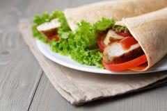 Świeżo robić tortilla opakunki z kurczakiem i warzywami Obrazy Stock