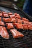 Świeży łosoś na grillu Fotografia Stock