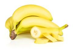 Świeży żółty banan odizolowywający na bielu obrazy stock