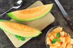Świeży żółty melon lub kantalup zdjęcie royalty free