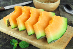 Świeży żółty melon lub kantalup zdjęcia royalty free