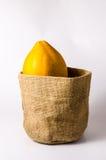 świeży żółty melonowiec z workową torbą zdjęcie stock