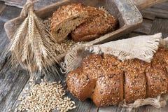 Świeży żyto bochenek chleb, wieśniaka styl zdjęcia stock