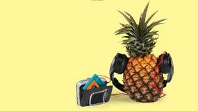 świeży ananas z czarnym wlakman koloru żółtego tłem i hełmofonami zdjęcia royalty free