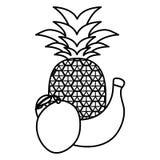 Świeży ananas z mango i bananem royalty ilustracja