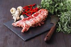 Świeży baranek gotowy dla kulinarnego grilla obrazy stock