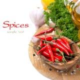 Świeży chili pieprzu czosnek, pikantność i olej na desce, Obrazy Stock