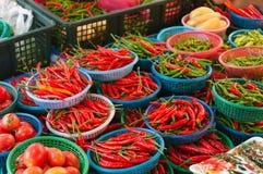Świeży chili w lokalnym rynku Fotografia Stock