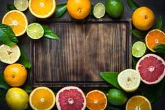 Świeży cytrus owoc asortyment na czerni Obraz Stock