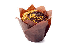 Świeży czekoladowy słodka bułeczka na bielu obraz stock