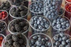 Świeży czernicy i czarnej jagody tekstury abstrakcjonistyczny owocowy kolorowy deseniowy tło zdjęcia stock
