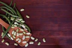 Świeży dojrzały fasolki szparagowej rozsypisko Fotografia Royalty Free