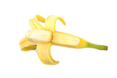 Świeży, dojrzały i smakowity obrany banan, Obrany dojrzały żółty banan, odizolowywający na białym tle Obrazy Royalty Free