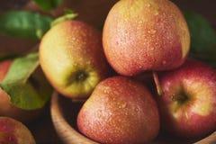 Świeży dojrzały jabłko nad drewnianym tłem zdjęcie stock