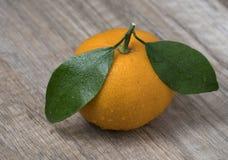 Świeży dojrzały tangerine z liśćmi na drewnianym tle fotografia stock