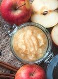 Świeży domowej roboty applesauce z jabłkami Odgórny widok obrazy stock