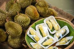 ?wie?y durian struga? na tacy dojrza?ego durian tropikalnej owoc dla sprzeda?y w rynku fotografia stock