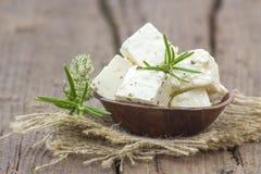Świeży feta ser z ziele fotografia stock