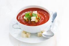 Świeży gazpacho z croutons w pucharze Fotografia Royalty Free