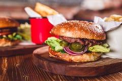 Świeży hamburgeru zbliżenie Obrazy Royalty Free